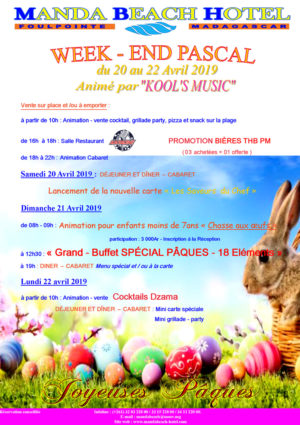 Week-end Pascal du 20 au 22 Avril 2019 - MANDA BEACH HOTEL